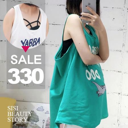 SISI【V6023】休閒隨性寬鬆百搭顯瘦字母卡通印花無袖背心上衣
