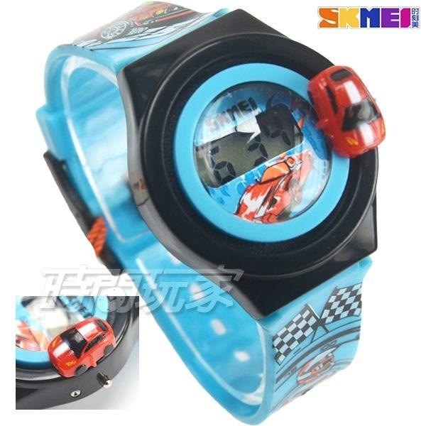 SKMEI時刻美 汽車模型 賽車造型兒童電子手錶 男孩女孩 印花玩具錶 可旋轉汽車 SK1376淺藍