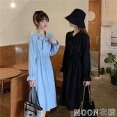 長袖洋裝年新款韓版黑色中長款法式洋裝復古打底V領長袖裙子女母親節特惠