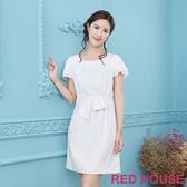 【RED HOUSE 蕾赫斯】打褶波浪袖素面洋裝(白色)