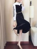 秋裝女冬季新款桔梗裙氣質女裝高冷女神范衣服法式絲絨連身裙Mandyc