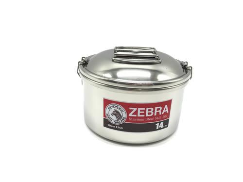 【好市吉居家生活】ZEBRA 斑馬牌 152308 圓形雙層便當盒 14CM 餐盒 不銹鋼 飯盒