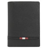 茱麗葉精品【全新現貨】BALLY 6239371 PRAVINN 壓印LOGO品牌條紋防刮護照夾.黑