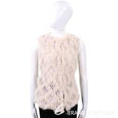 PINKO 粉裸菱格兔毛拼接羊毛針織背心 1540350-E2