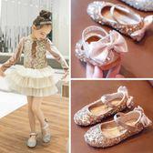 女童單鞋童鞋皮鞋兒童軟底公主鞋水晶鞋【南風小舖】