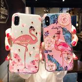 藍光閃粉火烈鳥iPhonex手機殼蘋果7plus全包套8P韓版女款6s卡通潮