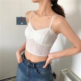 夏季新款韓版蕾絲無鋼圈帶胸墊美背打底小吊帶背心女內搭上衣  【快速出貨】