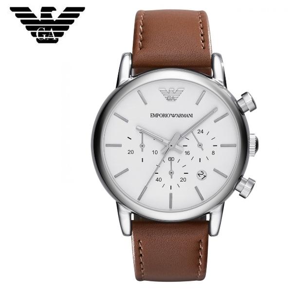 附發票【時間光廊】EMPORIO ARMANI 亞曼尼 三眼計時秒錶 皮帶 41mm 全新原廠正品 AR1846