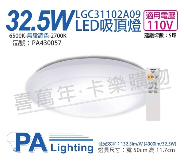 Panasonic國際牌 LGC31102A09 LED 32.5W 110V 全白燈罩 霧面 調光調色 遙控吸頂燈 _ PA430057