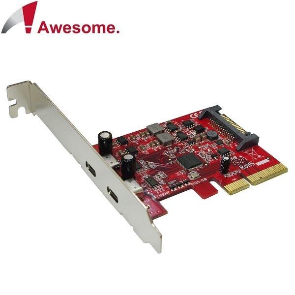 Awesome PCIe x4 2埠TypeC USB 3.1 10Gbps擴充卡 AWD-UB-135
