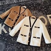 羊羔毛外套-羊毛短款V領毛絨寬鬆女大衣2色73zg24[巴黎精品]