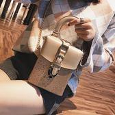 包包女時尚鏈條手提小包單肩側背復古盒子包亮片小方包潮