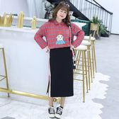 中大尺碼~休閒個性側開叉半身裙(XL~4XL)