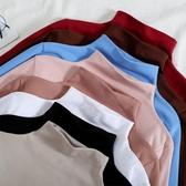 長袖 半高領打底衫女秋冬2019洋氣純色內搭長袖t恤修身百搭加絨上衣潮 免運費