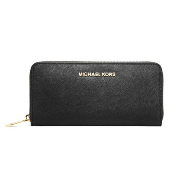 MICHAEL KORSMK 長夾 32S3GTVE3L 新款牛皮手拿包女士MK手拿包金色LOGO皮夾