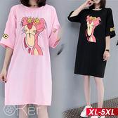 粉紅豹圖案長版T恤 XL-5XL O-ker歐珂兒 166606