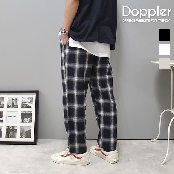 小寬鬆舒適格紋褲