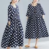 夏裝文藝波點印花遮肚子顯瘦大擺長裙寬鬆大碼棉麻連身裙 麗人印象 免運