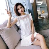 韓版女裝小清新甜美無袖寬鬆A字蕾絲連衣裙