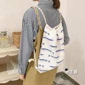束口袋 條紋午睡貓後背帆布包環保抽繩學生棉麻書包小清新文藝 快速出貨