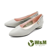 W&M (女)尖頭活動飾帶娃娃鞋 包鞋 女鞋 -綠(另有黑)