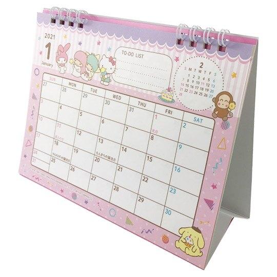 小禮堂 Sanrio大集合 日製 2021 線圈式桌曆 行事曆 月曆 年曆 (粉紫 甜點) 4904555-05579
