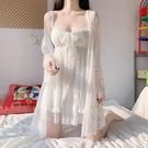 蕾絲睡衣女夏季薄款2021年新款公主風超仙性感吊帶胸墊睡裙兩件套 一米陽光