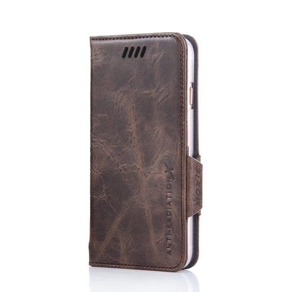 X-SHELL IPHONE 6 plus/6s plus 防電磁波真皮手機皮套 (仿古蠟皮 深咖啡色)