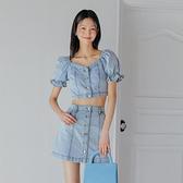 套裝 牛仔質感短袖短裙套裝JZ15029-創翊韓都