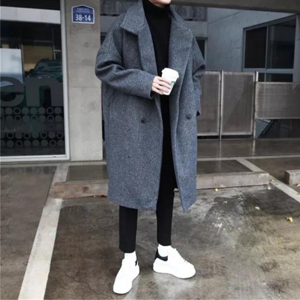 毛呢大衣男生中長款韓版潮流過膝風衣寬鬆休閒秋冬季加厚妮子外套 露露日記