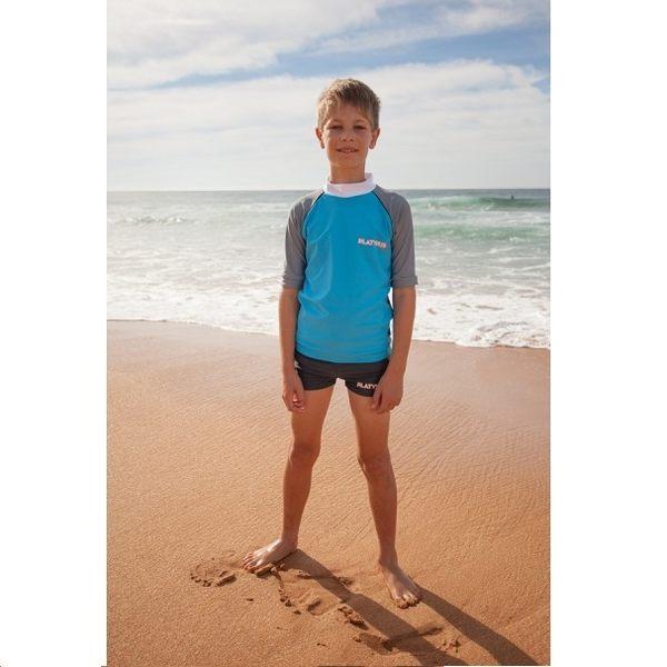 兒童泳衣 防曬短袖+平口短褲 套組★最新款條紋波浪系列★Xtra Life萊卡 澳洲鴨嘴獸(大男10-14歲)
