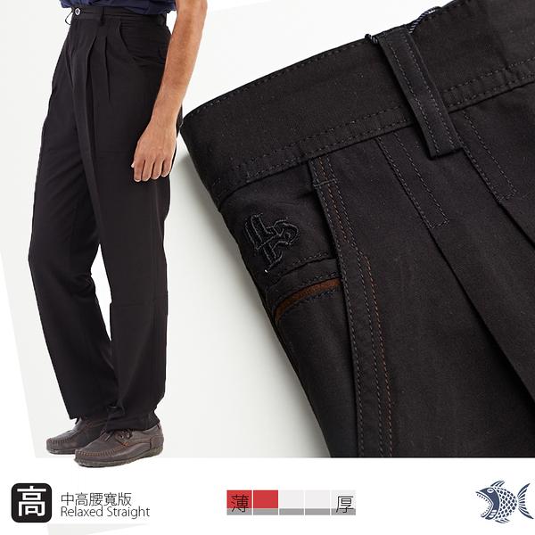 【NST Jeans】高腰打摺休閒男褲 鬆爽 禪意亞麻黑 中老年暢銷款 003(67371) 台灣製