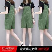 天女大尺碼背帶褲棉質寬鬆直版直筒褲胖女孩大尺碼女褲子【爆米花】