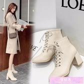 馬丁靴女春季新款方頭高跟鞋女百搭英倫風系帶粗跟單款短靴女 裝飾界