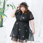 大呎碼女裝胖妹妹夏裝仙裙200斤胖mm收腰網布繡花洋裝 樂芙美鞋