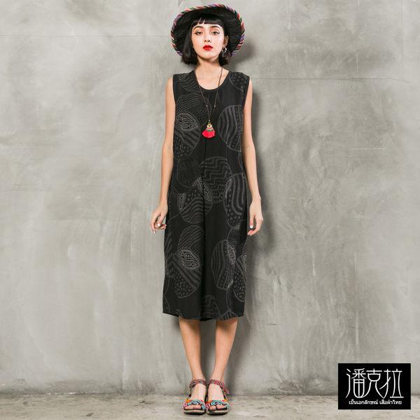 圓型印花背心洋裝(黑色)-F【潘克拉】