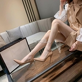31-43碼裸色高跟鞋女年新款細跟ins仙網紅少漆皮尖頭單鞋中跟 快速出貨