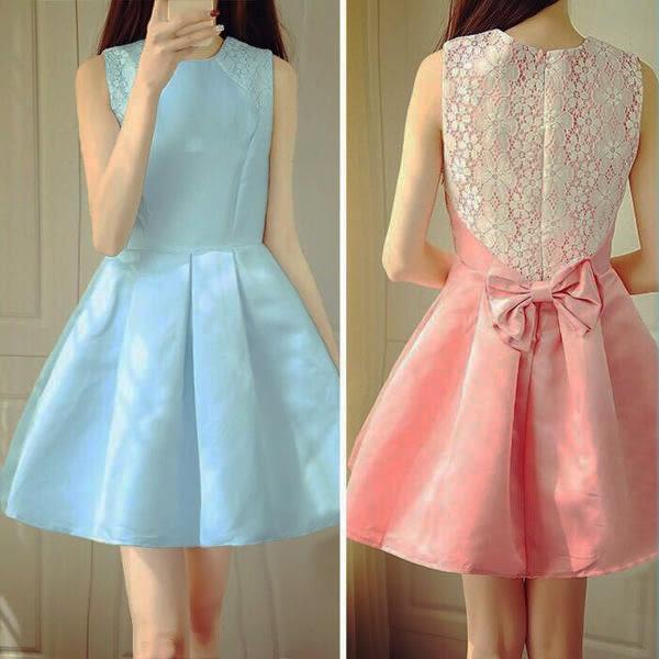 拼接蕾絲可拆式蝴蝶結洋裝  [米黃  粉紅 天藍] 三色售 [MNNO16052305]