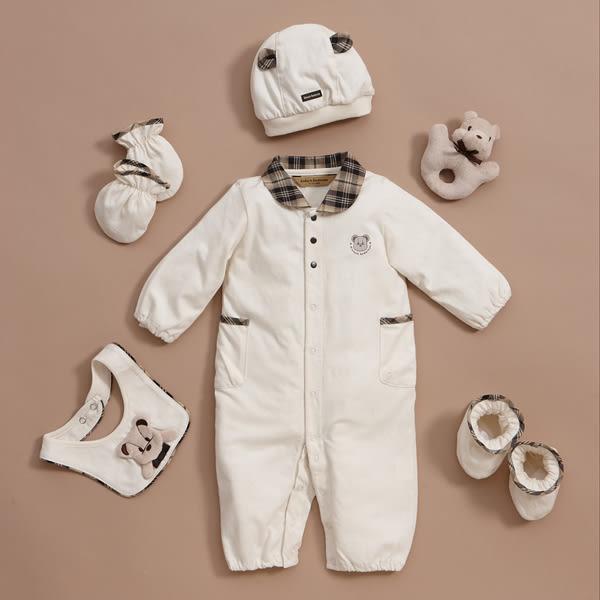 【金安德森】有機棉春夏新生兒禮盒--可愛熊熊圍兜長兔裝