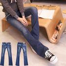 牛仔褲--完美細身袋口小碎花接布滾邊設計刷色微刷破小喇叭牛仔褲(S-7L)-N62眼圈熊中大尺碼★