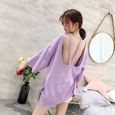 性感露背短袖t恤女韓版夜店裝時尚半袖紫色中長款上衣夏裝提拉米蘇