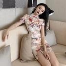 旗袍洋裝 2021年夏季新款中國風性感復古年輕款改良版法式旗袍連身裙少女潮
