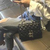 包包女2019新款菱格鏈條包chic百搭斜挎包時尚高級感洋氣質感女包 米娜小鋪
