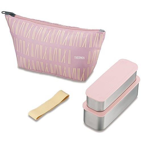 日本【膳魔師 THERMOS】不銹鋼保溫保冷便當盒 DSA-602W 粉色4件組635ml