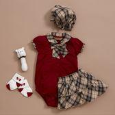 【金安德森】春夏彌月禮盒-可愛格子領結短兔裝+格子裙-紅色