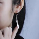 999純銀葉子水滴耳環女長款流蘇耳吊復古楓葉耳墜樹葉子耳鉤耳環