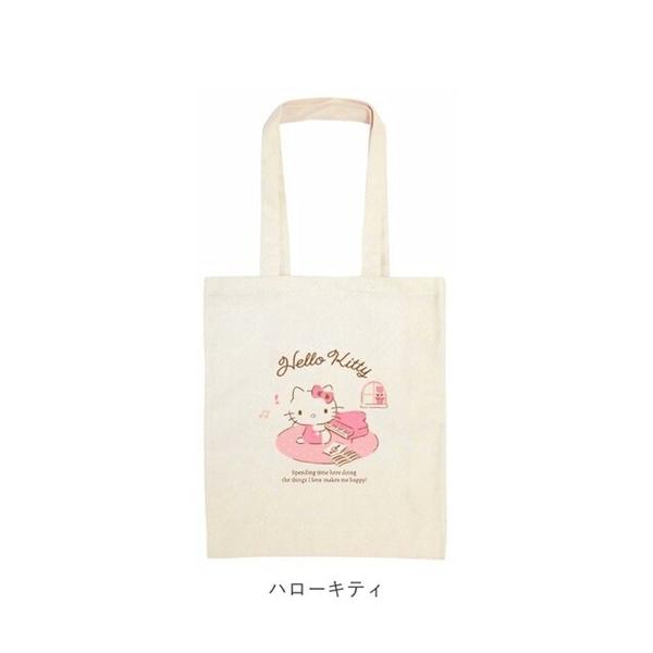 小禮堂 Hello Kitty 直式帆布側背袋 (米鋼琴款) 4930972-52274