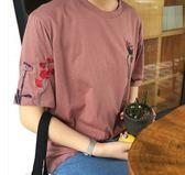 EASON SHOP(GU5341)韓版刺繡花朵側開衩圓領短袖T恤內搭衫落肩女上衣服素色白棉T春夏裝韓版寬鬆