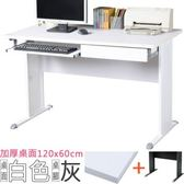 Homelike 路易120cm辦公桌(加厚桌面-附抽屜.鍵盤架)桌面-白 /
