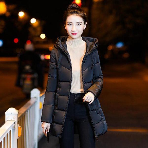 長版羽絨外套女洋裝正韓棉襖羽絨棉服女中長款修身棉衣冬天外套加厚 黑五好物節熱賣